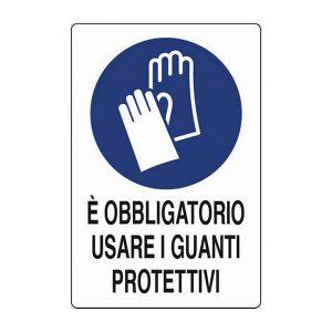 cartello segnalatore obbligo guanti uso