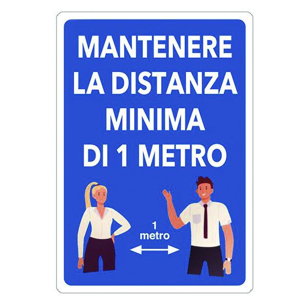 cartello segnaletica distanza minima 1 metro
