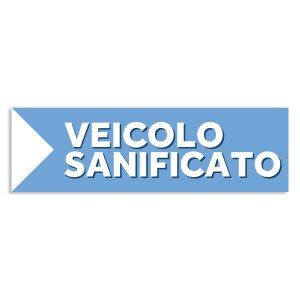 scritta cartello autosaloni veicolo sanificato